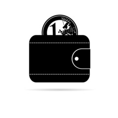 wallet icon with black euro coin vector