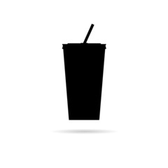 plastic cups icon silhouette