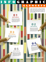 creative template infographic with pencils writing on post-it