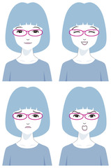 赤い眼鏡の女性アイコン