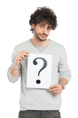Uncertain Man Showing Question Mark Sign