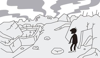 破壊された街にたたずむ男性