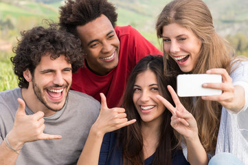 Friends Taking A Selfie With Mobile Phone