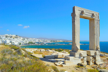 Portara temple ruins at Naxos, Cyclades, Greece