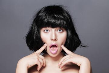 Close up portrait of beautiful young brunette woman. Beautiful