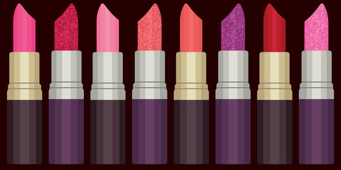 Colorful lipsticks vector set 2