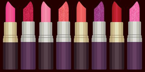 Colorful lipsticks vector set 2