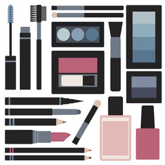 Makeup objects vector set