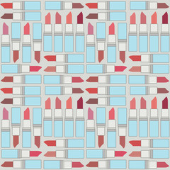 Retro vector seamless pattern background with lipsticks 2