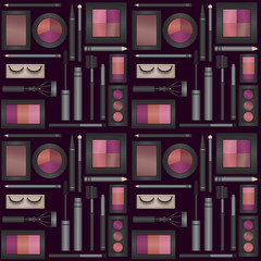 Vector seamless pattern background with eyes makeup products