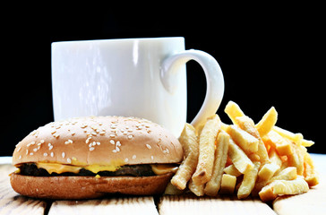 burger fries black background