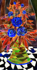 Gouache still life. Elegant corsage of dark blue roses