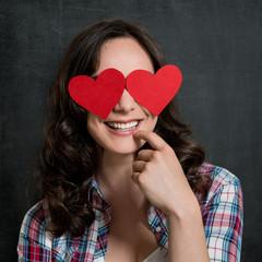 Happy Shy Woman In Love