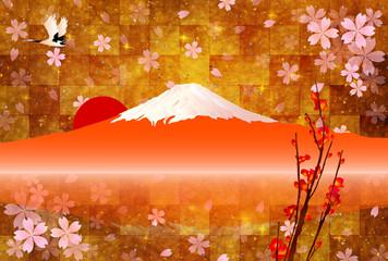 富士山 年賀状 背景
