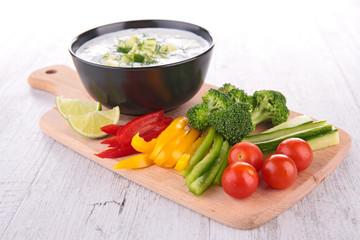 yogurt sauce and vegetables