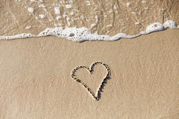 Heart drawn on the beach.