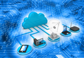 Cloud computing concept on abstract tech background ..