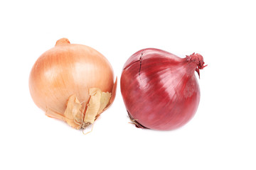 Red and golden onions.