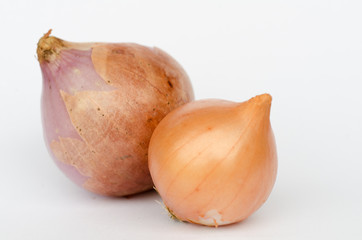 Ripe onions on a white background