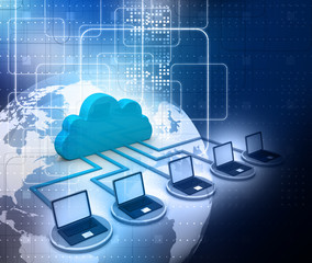 Cloud computing concept on digital background .