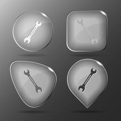 Spanner. Glass buttons. Vector illustration.