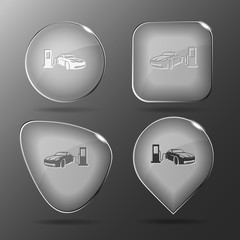 Car fueling. Glass buttons. Vector illustration.
