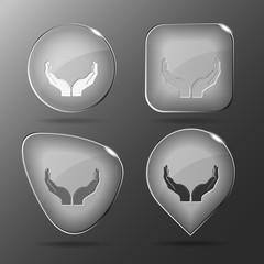 Human hands. Glass buttons. Vector illustration.