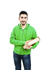 Young happy student with book on white background