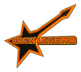 Rock Legend emblem in gold and black
