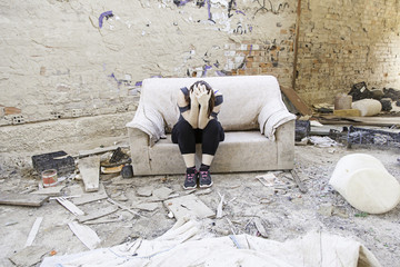 Girl in abandoned house
