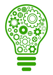 lightbulb gear green concept