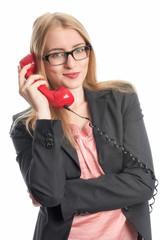 Geschäftsfrau mit Telefon