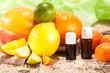 Leinwandbild Motiv Ätherische Öle aus Früchten