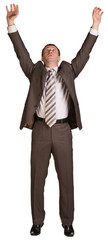 Businessman holding hands up in front of him