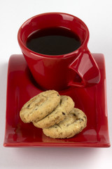 Oatmeal biscuits and cup of coffee