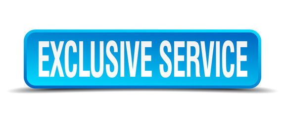 exclusive service blue 3d realistic square isolated button