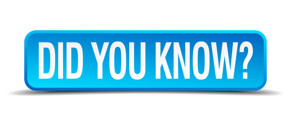 did you know blue 3d realistic square isolated button