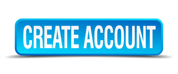 create account blue 3d realistic square isolated button