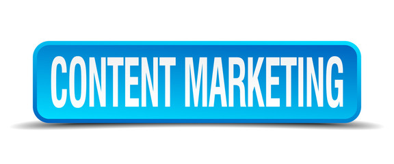 content marketing blue 3d realistic square isolated button
