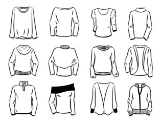 Contours of women's sweaters