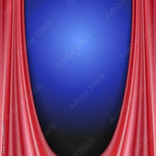 красный занавес на синем фоне