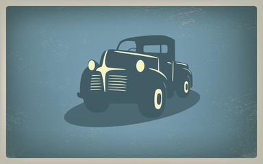 Vintage retro pickup truck car vector