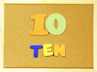 Ten word on a corkboard