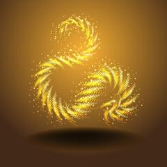 золотой знак на темном фоне