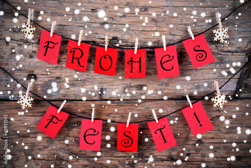 canvas print picture Snowy Christmas Background with the Words Frohes Fest