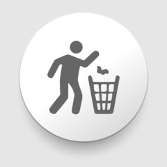 Illustration of man and recycled bin. vector