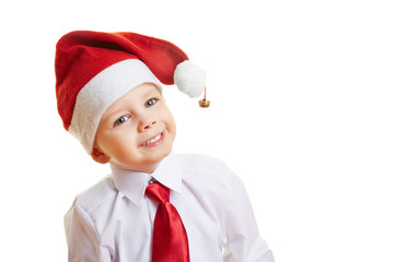 Lachender Junge zu Weihnachten
