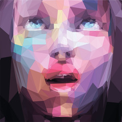 Abstract low poly, pop art portrait girl looking up