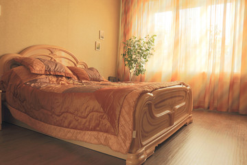 interior bedroom sunset