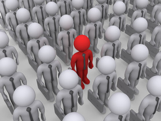 Different businessman in a crowd of others